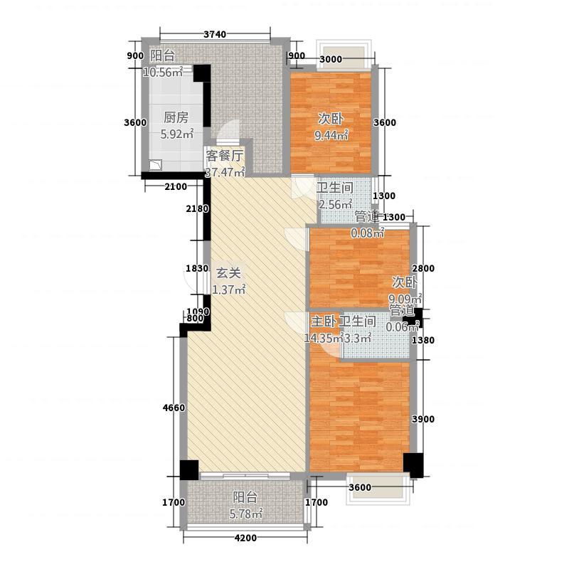 悦华星座125.38㎡C6户型3室2厅2卫1厨