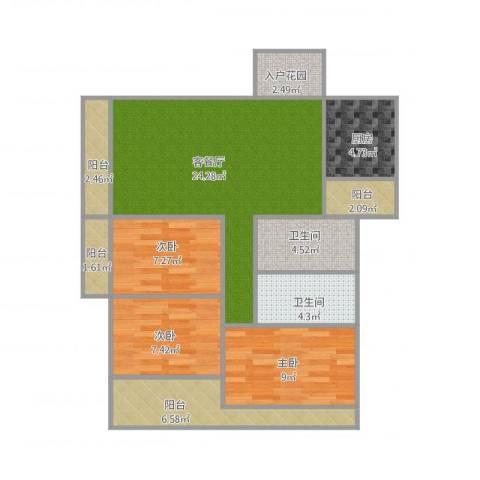 招商花园城二期3室1厅2卫1厨106.00㎡户型图