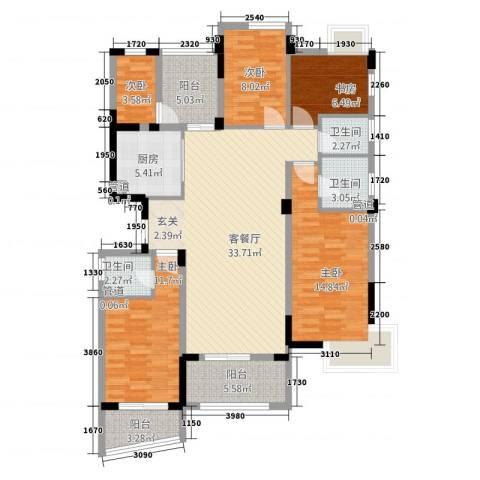 福星豪庭5室1厅3卫1厨152.00㎡户型图