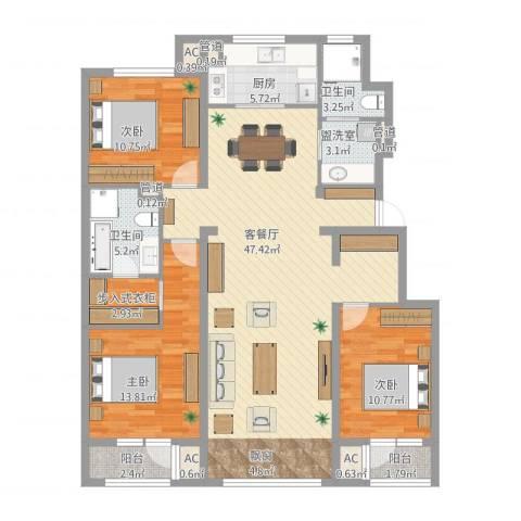 中粮万科紫云庭3室2厅2卫1厨157.00㎡户型图