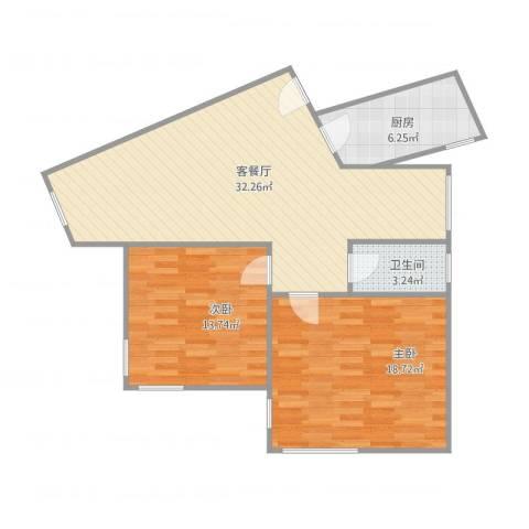 金都花园2室1厅1卫1厨99.00㎡户型图