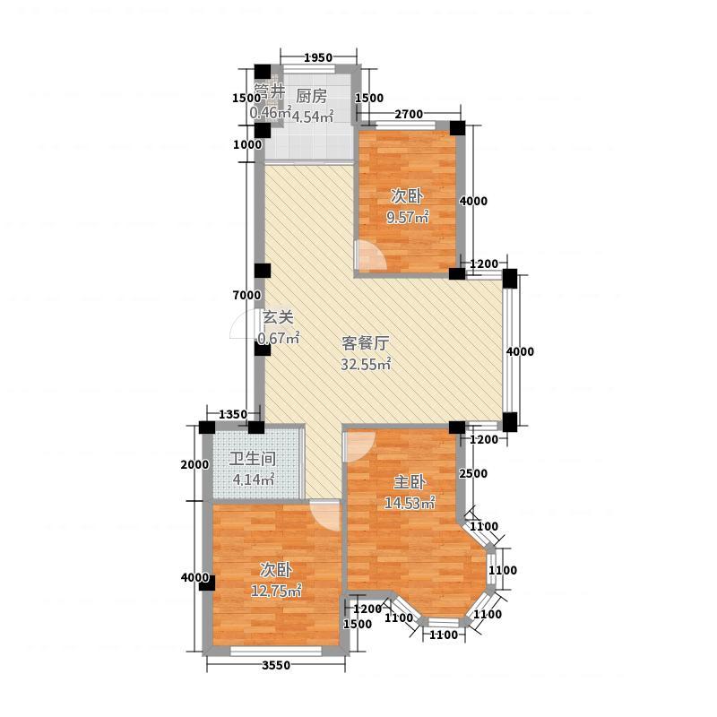 荣田尊府18.00㎡户型2室2厅1卫1厨