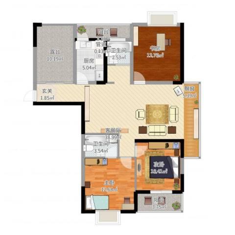 欣钰雅居苑3室1厅2卫1厨146.00㎡户型图