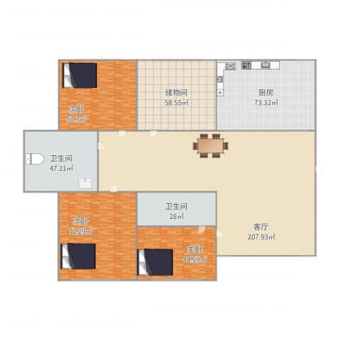 锦霞南园3室1厅2卫1厨758.00㎡户型图