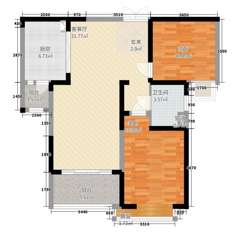 云庭城市中心花园15.00㎡云顶之颠A户型2室1厅1卫1厨