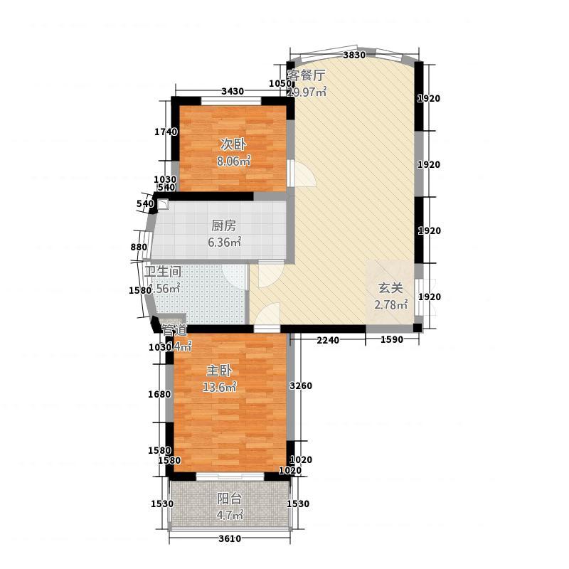 云庭城市中心花园6.60㎡云顶之颠D户型2室1厅1卫1厨