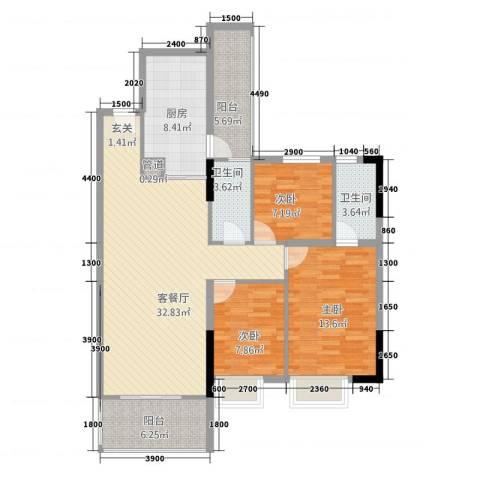 阳光水岸3室1厅2卫1厨89.37㎡户型图