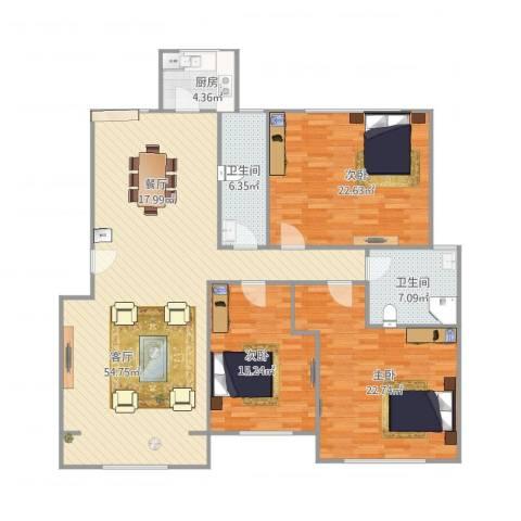 宝翠花都探景园3室1厅2卫1厨177.00㎡户型图