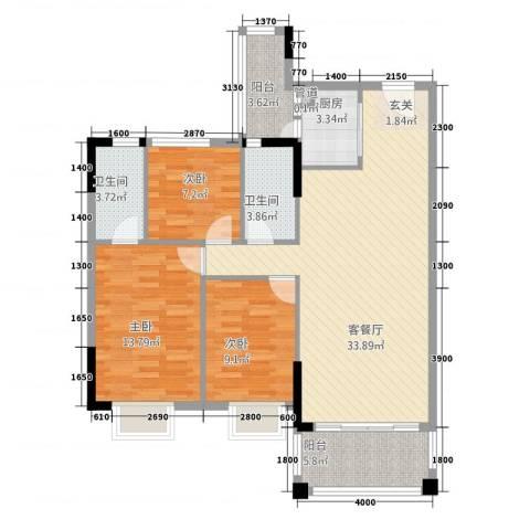 阳光水岸3室1厅2卫1厨84.41㎡户型图