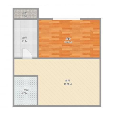 三和温泉花园天时园1室1厅1卫1厨58.00㎡户型图