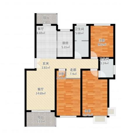 贝越流明新苑3室1厅2卫1厨129.00㎡户型图