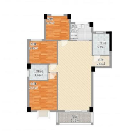 昌润・嘉和苑3室1厅2卫1厨127.00㎡户型图