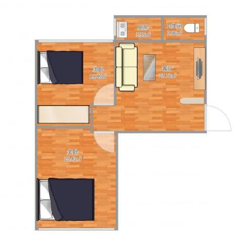祥顺小区2室1厅1卫1厨105.00㎡户型图