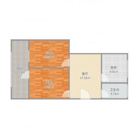 凤凰山路单位宿舍2室1厅1卫1厨96.00㎡户型图