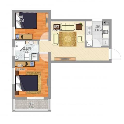 龙康新苑南区1#A户型2室1厅1卫1厨64.00㎡户型图