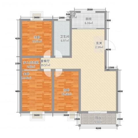 旺旺家园3室1厅1卫1厨115.80㎡户型图