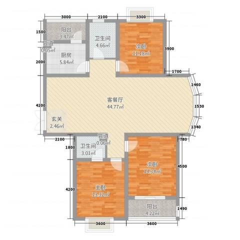 旺旺家园3室1厅2卫1厨149.00㎡户型图