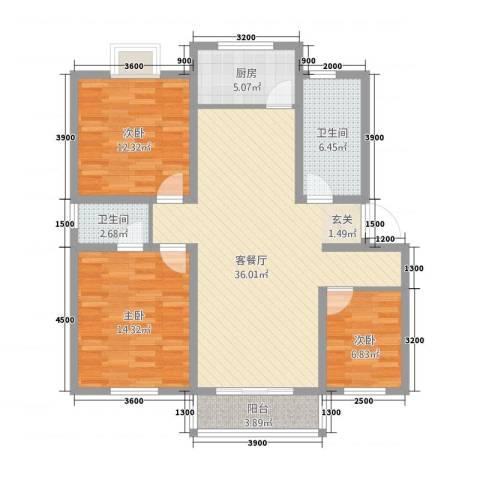 旺旺家园3室1厅2卫1厨126.00㎡户型图