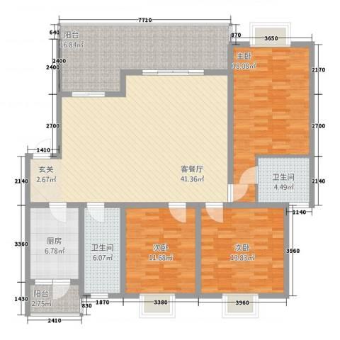 瑞鹏阳光水岸3室1厅2卫1厨134.00㎡户型图