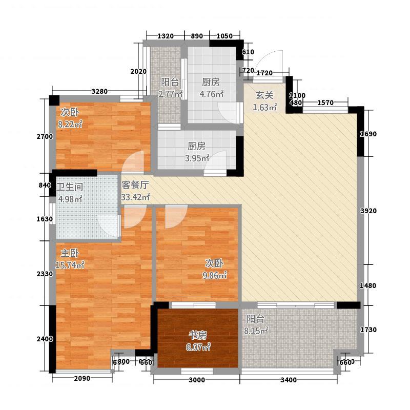 丰泽园114.60㎡2户型3室3厅2卫1厨