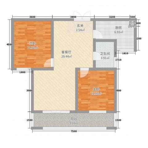 旺旺家园2室1厅1卫1厨87.49㎡户型图