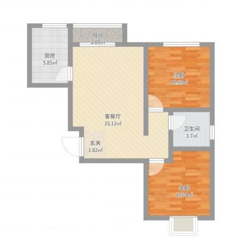 梅岭西苑2室1厅1卫1厨85.00㎡户型图