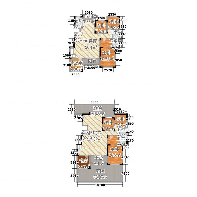 枫华・西湖湾15.00㎡-A首层复式159户型4室2厅2卫1厨