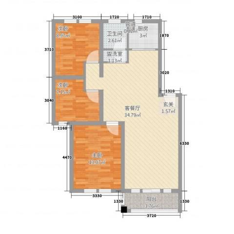 公园天下3室2厅1卫1厨107.00㎡户型图