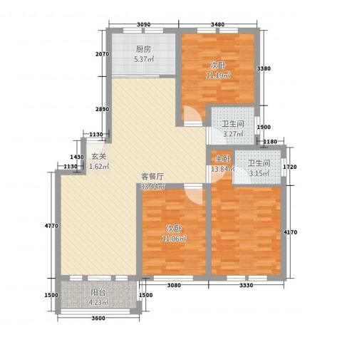 公园天下3室1厅2卫1厨122.00㎡户型图
