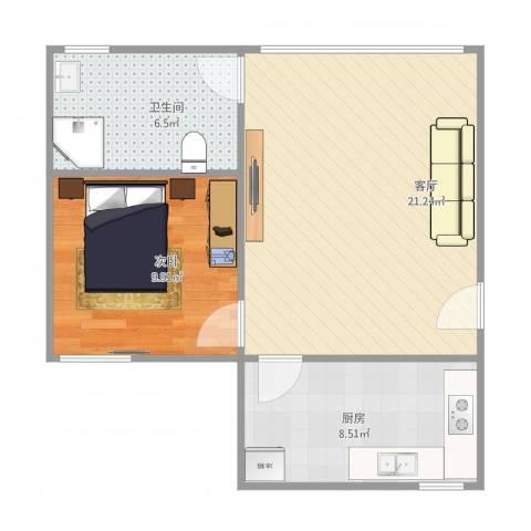 怡景花园b1-5011室1厅1卫1厨62.00㎡户型图