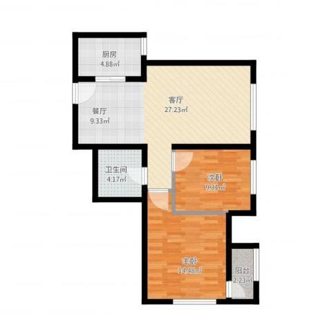 亿城堂庭2室1厅1卫1厨89.00㎡户型图