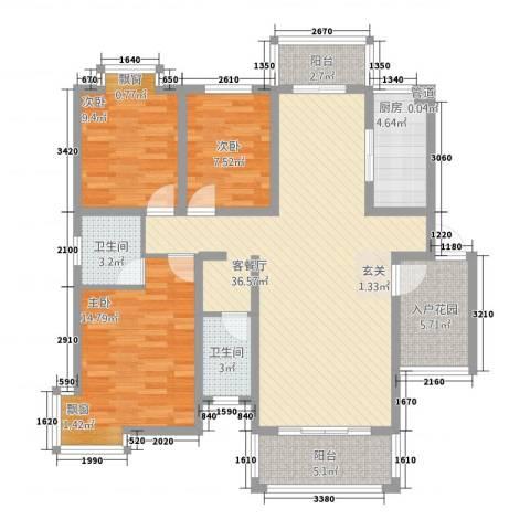 锦豪雍景园3室1厅2卫1厨135.00㎡户型图