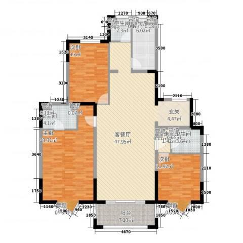 尚海湾豪庭3室1厅3卫1厨171.00㎡户型图