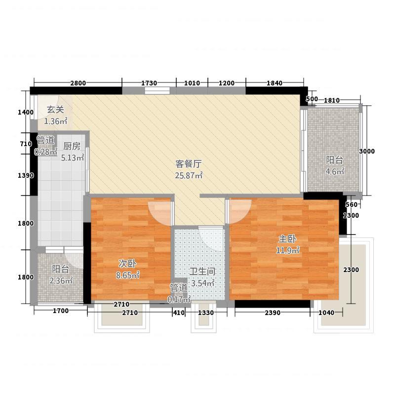 怡翠馨园85.00㎡户型2室