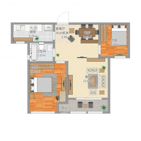 华润置地橡树湾2室1厅1卫1厨88.00㎡户型图