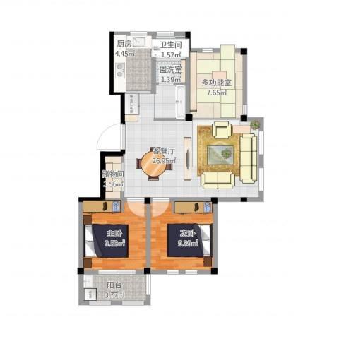 舟宿云庭89平米户型2室2厅1卫1厨94.00㎡户型图