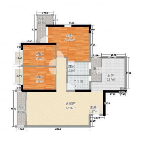 从化都市华庭3室1厅2卫0厨128.00㎡户型图