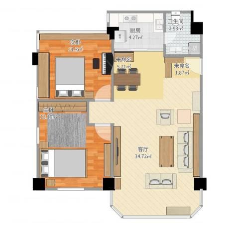 东华居2室1厅1卫1厨90.00㎡户型图
