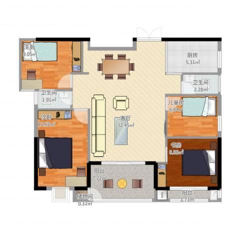 ECO城4室1厅2卫1厨123.00㎡户型图