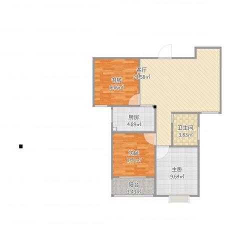 融广春天3室1厅1卫1厨87.00㎡户型图