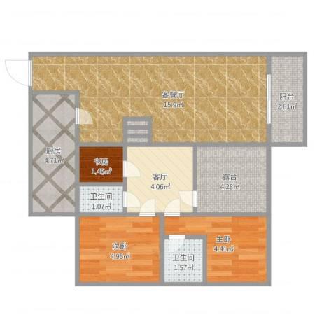 金华苑小区3室2厅2卫1厨64.00㎡户型图