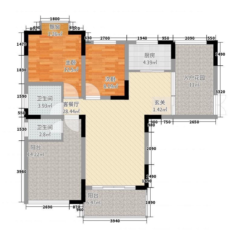 圣城华府8.70㎡3-1-3-25户型2室2厅2卫1厨