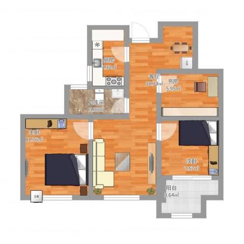 幸福城居住区经济适用房3室1厅1卫1厨85.00㎡户型图