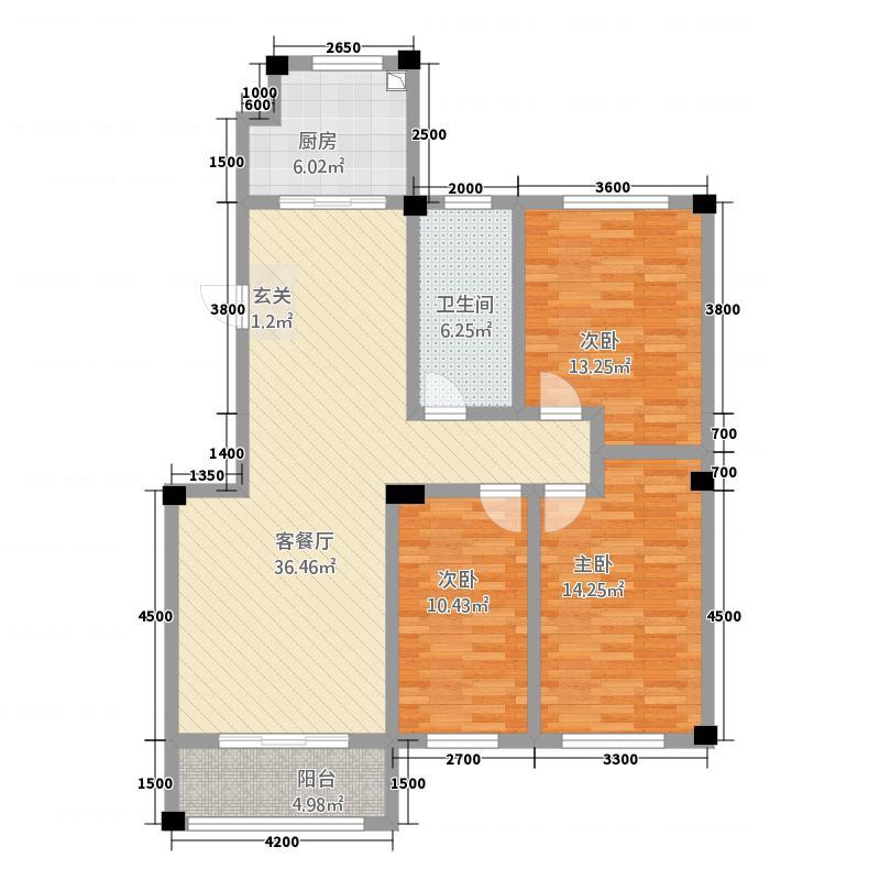 姜盛苑12.00㎡-中间户户型3室2厅1卫