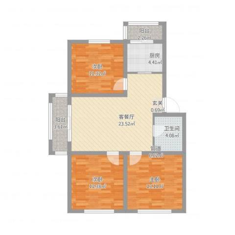 东皇银河家园3室1厅1卫1厨108.00㎡户型图