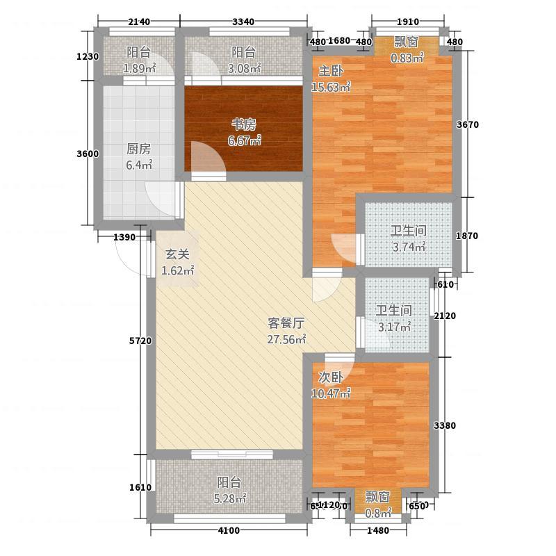 洪州壹�C标准层户型3室2厅2卫1厨