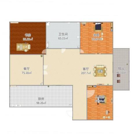 博奥国际3室2厅1卫1厨925.00㎡户型图