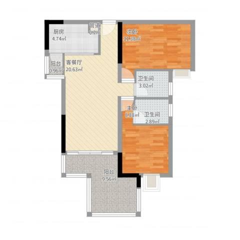永安新城SUN第坊2室1厅2卫1厨90.00㎡户型图