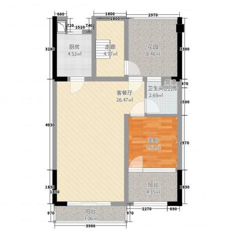 万科第五园领峰1室1厅1卫1厨91.00㎡户型图