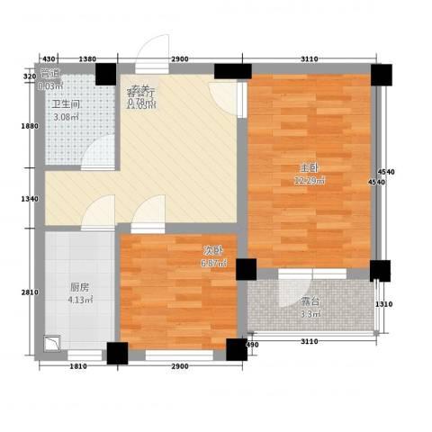 凯隆・城市广场2室1厅1卫1厨59.00㎡户型图